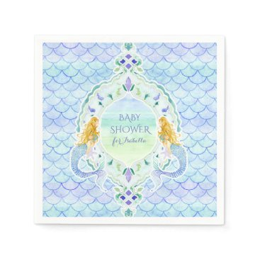 Beach Themed Modern Fish Scale Mermaid Baby Shower Watercolor Paper Napkin