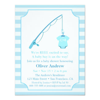 Modern Fishing Themed Baby Shower Invitations