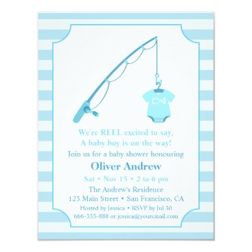 Toddler & Baby themed Modern Fishing Themed Baby Shower Invitations