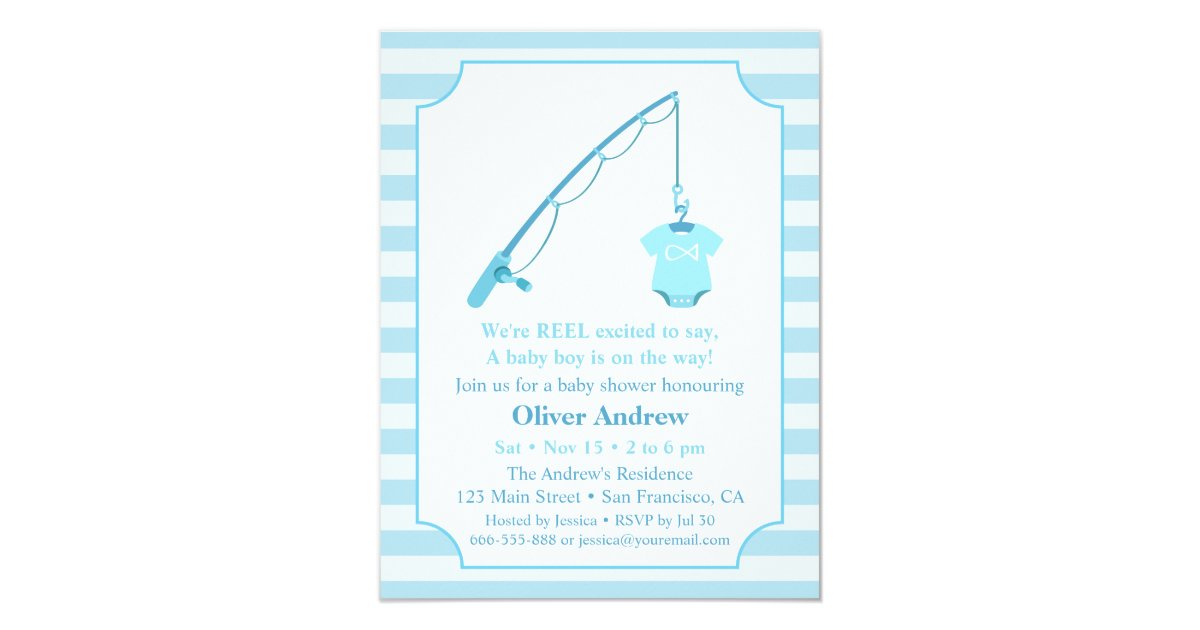 modern fishing themed baby shower invitations zazzle