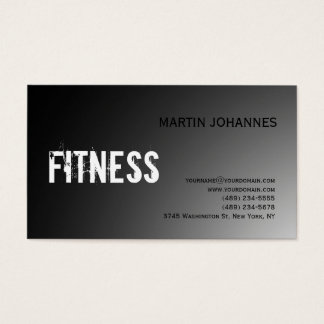Modern Fitness Sport Gray Business Card