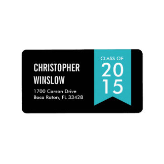 Modern Flag Graduation Labels - Turquoise
