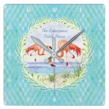 Beach Themed Modern Flamingo Beach Ocean Sand Shore Aqua Blue Square Wall Clock