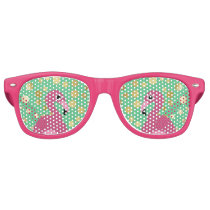 Modern Flamingo Gold Glitter on Green Retro Sunglasses
