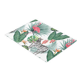 Modern flamingo zebra tropical leaf watercolor doormat