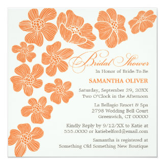 Modern Floating Flowers Bridal Shower Invitation