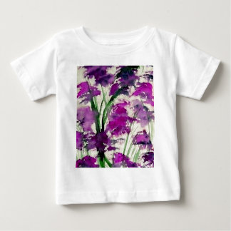Modern Floral Abstract Purple Flowers in the Wind Baby T-Shirt
