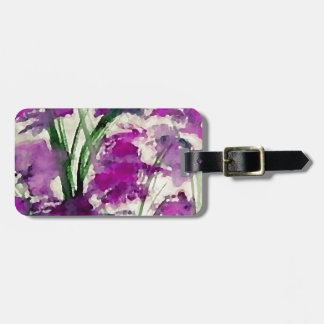 Modern Floral Abstract Purple Flowers in the Wind Bag Tag