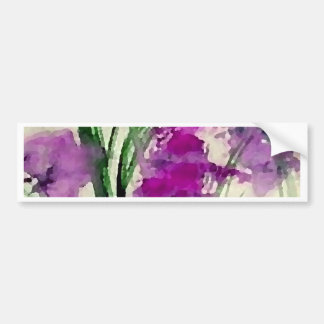 Modern Floral Abstract Purple Flowers in the Wind Bumper Sticker