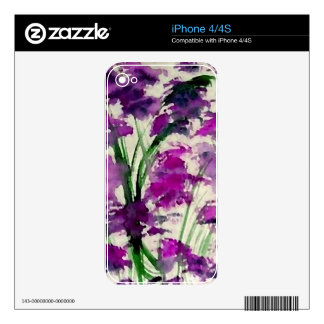 Modern Floral Abstract Purple Flowers in the Wind Decal For iPhone 4