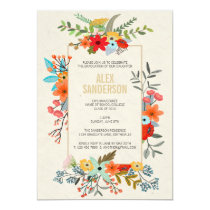 Modern Floral and Gold Border Graduation Party Card