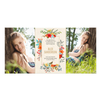 Modern Floral and Gold Border Graduation Photo Card