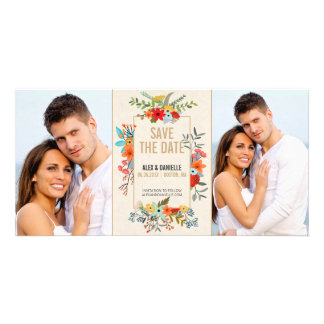 Modern Floral and Gold Border Save The Date Photo Card