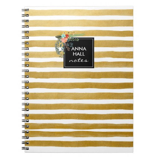 Modern Floral and Gold Foil Stripes Notebook