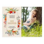 Modern Floral and Gold Graduation Photo Postcard