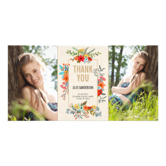 Modern Floral and Gold Graduation Thank You Photo Card