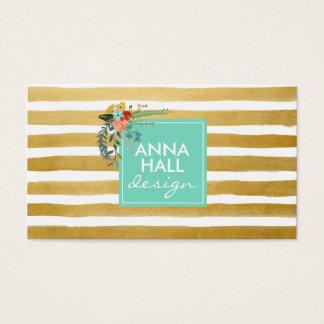 Modern Floral Aqua and Gold Foil Stripes Business Card