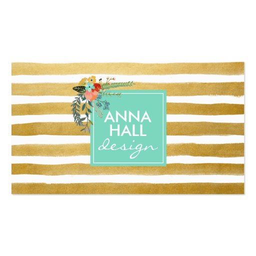 Modern Floral Aqua and Gold Foil Stripes Double-sided Standard Business Cards (pack Of 100)