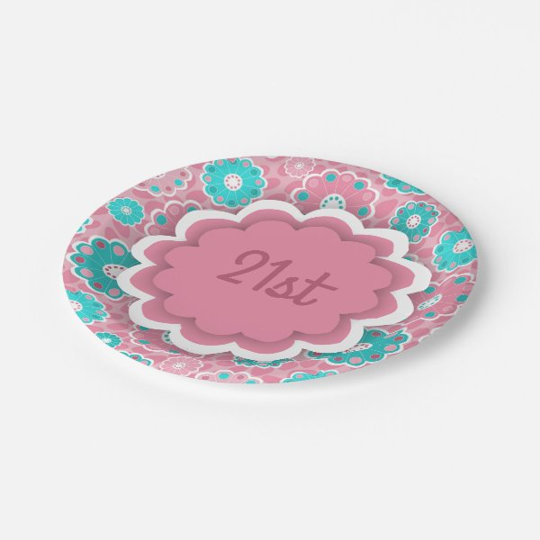 Modern floral aqua and pink paper plate