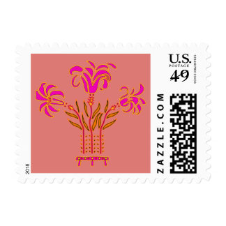 Modern floral Art Nouveau flowers popart style Postage Stamp