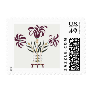 Modern floral Art Nouveau flowers raspberry gray Postage Stamp