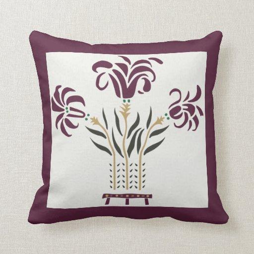 Modern floral Art Nouveau flowers raspberry gray Throw Pillow Zazzle