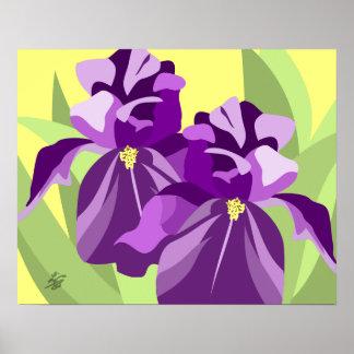 Modern Floral Art - Purple Iris Poster