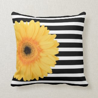 Modern Floral, B&W Stripes w Yellow Daisy Throw Pillow