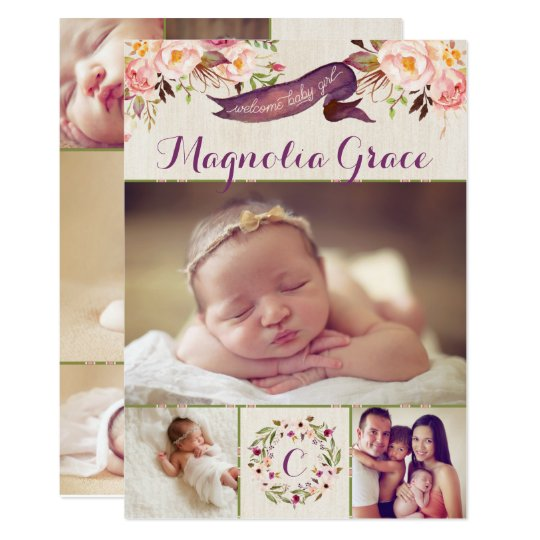 Modern Floral Baby Girl Birth Announcement Cards – Announcement of Birth of Baby Girl
