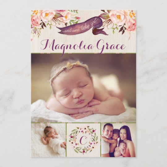 Modern Floral Baby Girl Birth Announcement Cards