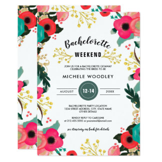 Modern Floral Bachelorette Weekend Invitations