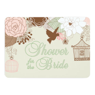 Modern Floral Birdcage Shower 5x7 Paper Invitation Card