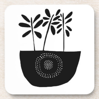 Modern Floral Black and White Coasters