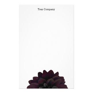 Modern Floral Black Dahlia Flower Stationery