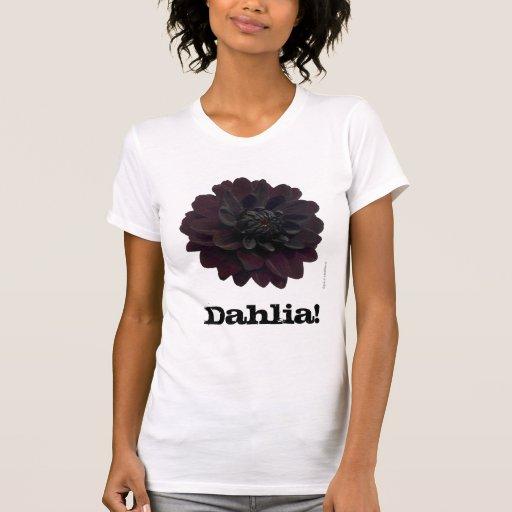 Modern Floral Black Dahlia Flower T-Shirt