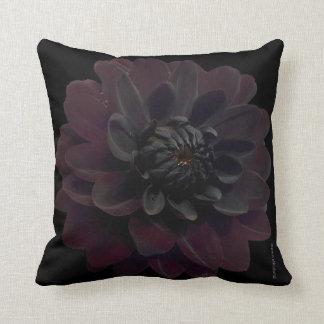 Modern Floral Black Dahlia Flower Throw Pillow