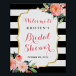 "Modern Floral Black Stripes Bridal Shower Sign<br><div class=""desc"">Modern Floral Black Stripes Bridal Shower Sign Poster. (1) The default size is 8 x 10 inches, you can change it to any size. (2) For further customization, please click the &quot;customize further&quot; link and use our design tool to modify this template. (3) If you need help or matching items,...</div>"