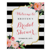 Modern Floral Black Stripes Bridal Shower Sign
