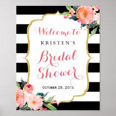 Modern Floral Black Stripes Bridal Shower Sign at Zazzle