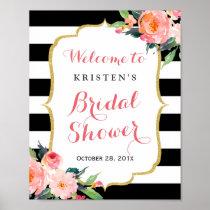 Modern Floral Black Stripes Bridal Shower Sign Poster