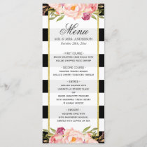 Modern Floral Black White Striped | Wedding Menu
