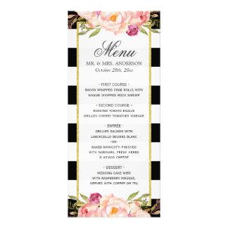 Modern Floral Black White Striped | Wedding Menu