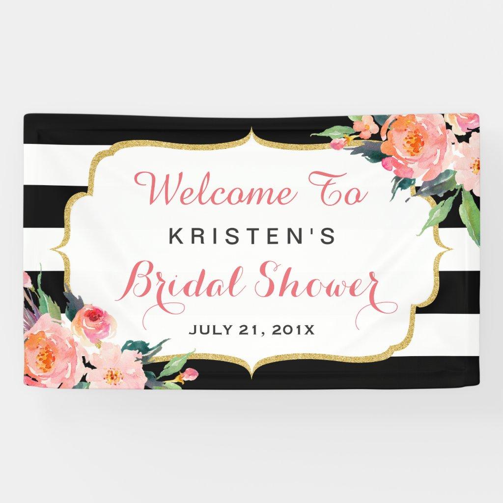 Modern Floral Black White Stripes Bridal Shower