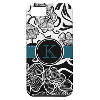 Modern Floral Black White Teal Ribbon Monogrammed iPhone 5 Covers