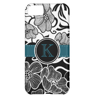Modern Floral Black White Teal Ribbon Monogrammed iPhone 5C Cover