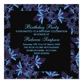 Modern Floral Blue & Black Birthday Invitation