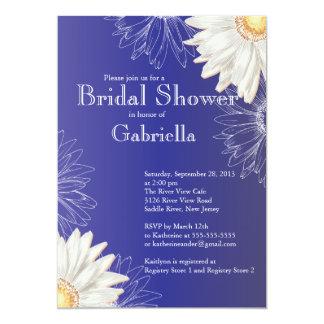Modern Floral Blue Daisy Bridal Shower Card