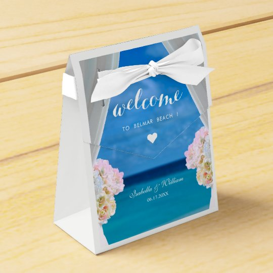 Modern Floral Blue Ocean Beach Wedding Favor Box Zazzle