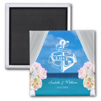 Modern Floral Blue Ocean Beach Wedding Magnet