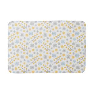 Modern Fl Blue Yellow Gray Medium Bath Mat